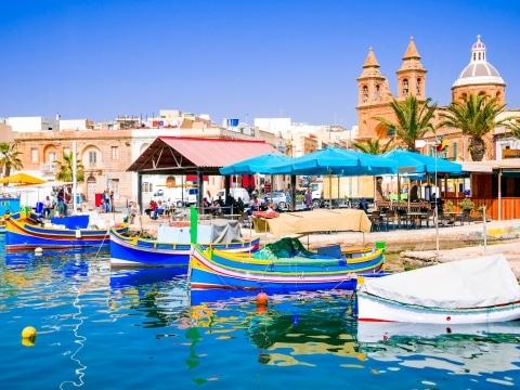 Malta, Marsaxlokk, Luzzu Boote