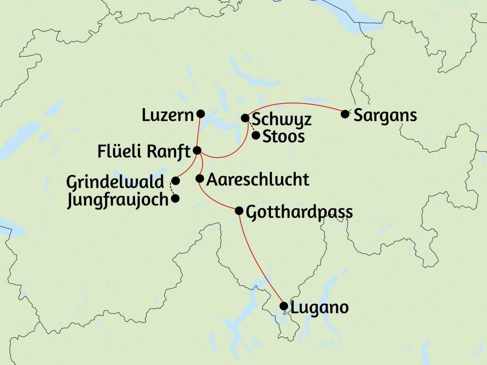 Höhepunkte Schweiz, Karte