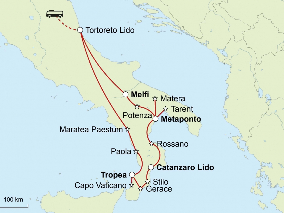 Kalabrien, Basilikata, Karte