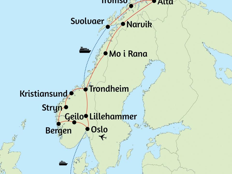 Norwegen, Karte