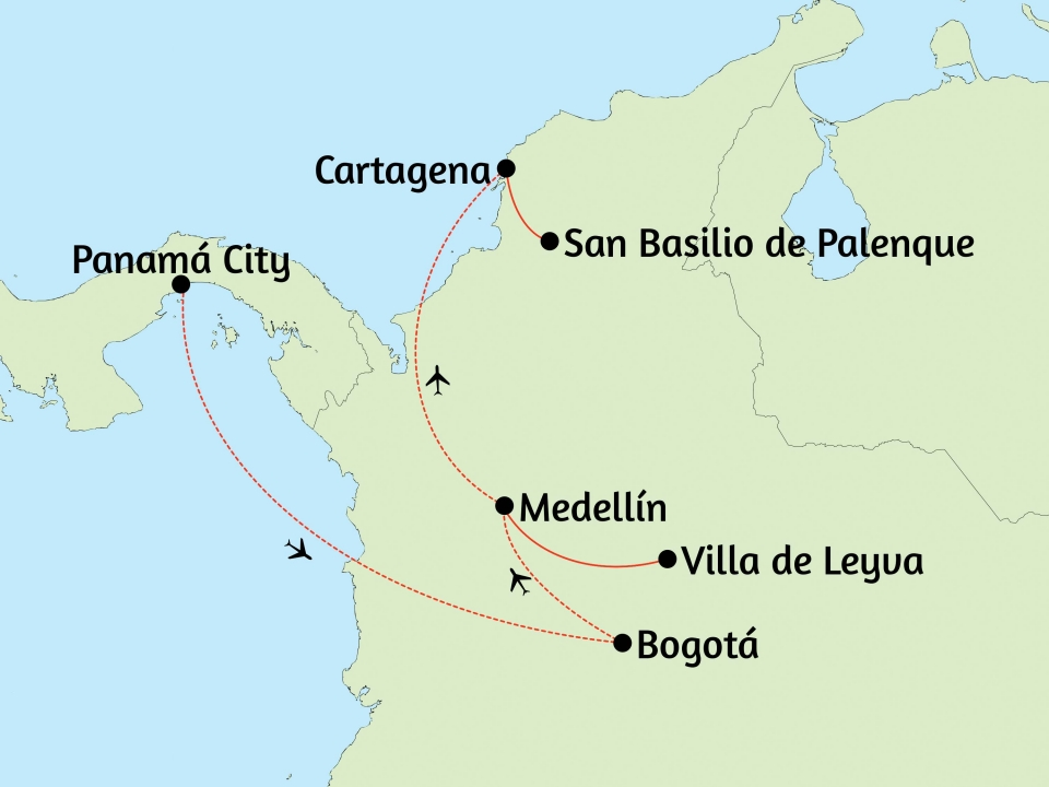 Panama, Kolumbien, Karte