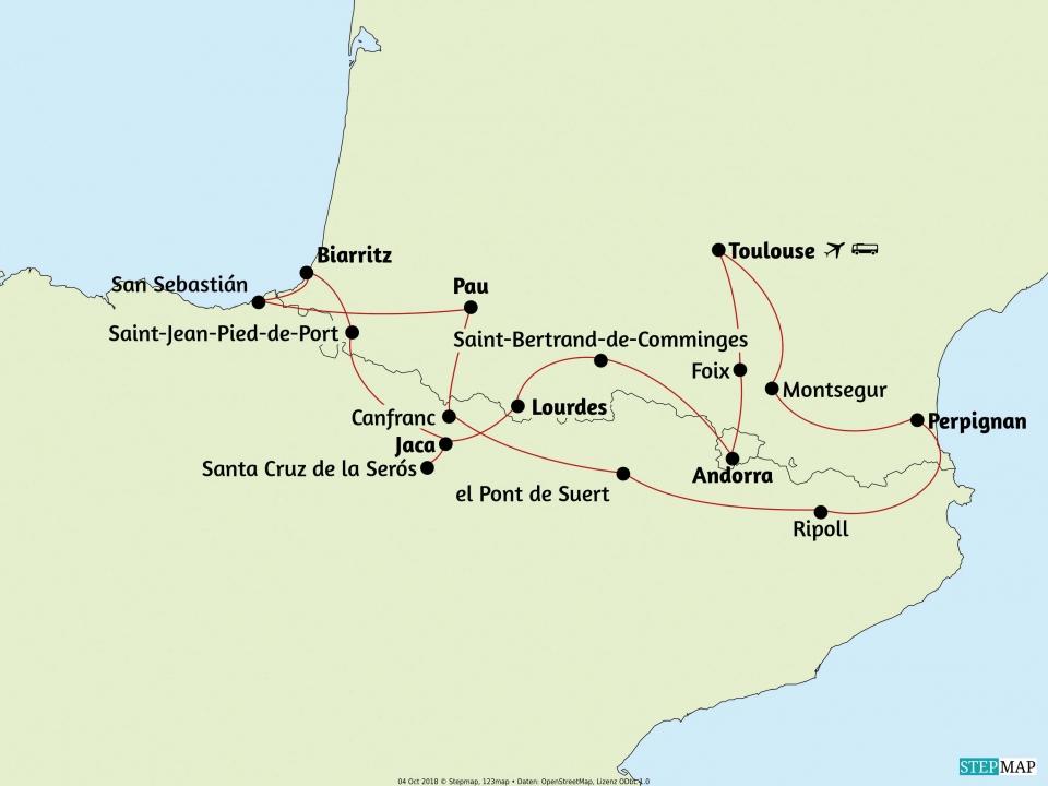Pyrenäen, Karte