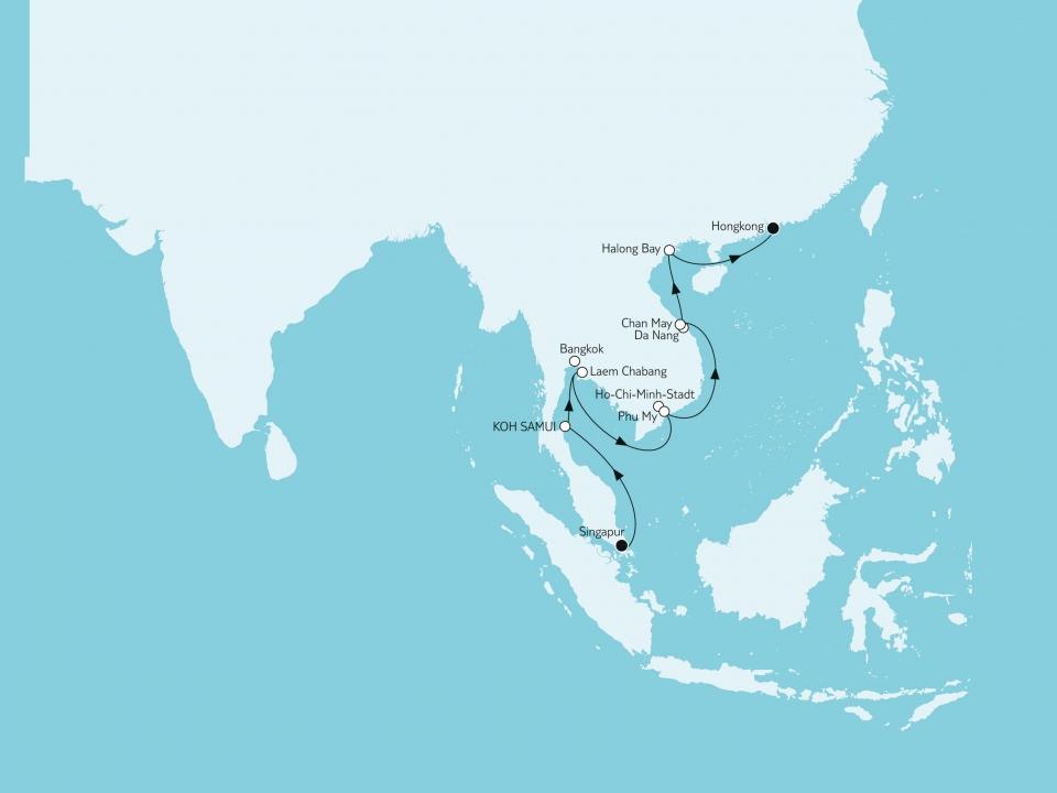 Singapur bis Hongkong, Karte